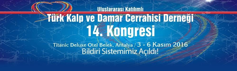 Türk Kalp ve Damar Cerrahisi Derneği 14. Kongresi Bildiri sistemimiz açıldı